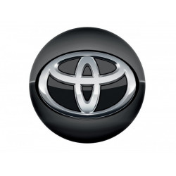 Grand centre de jante noir brillant logo chromé - Yaris 5P Hybride 2017